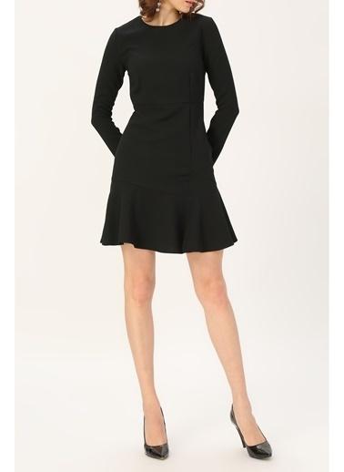 Random Kadın Volan Detaylı Uzun Kollu Elbise Siyah